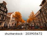 amsterdam autumn. beautiful... | Shutterstock . vector #203905672