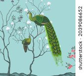 exotic chinoiserie background ... | Shutterstock . vector #2039086652