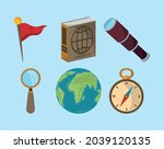 set of geography travel tools | Shutterstock .eps vector #2039120135