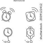 alarm clock icons set isolated...