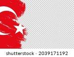 turkey flag with brush paint... | Shutterstock .eps vector #2039171192