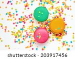 top view of colorful macaroons | Shutterstock . vector #203917456