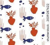 underwater seamless pattern....   Shutterstock .eps vector #2039287622