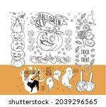 big set for autumn decorative...   Shutterstock .eps vector #2039296565