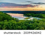 Scenic view overlooking the confluence of the Kinnickinnic and St. Croix rivers and delta at Kinnickinnic State Park in Wisconsin during late summer.