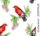 wild exotic birds on twig with... | Shutterstock . vector #203959618