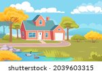 colorful country house with... | Shutterstock .eps vector #2039603315
