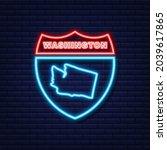 neon map of washington state...   Shutterstock .eps vector #2039617865