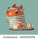 a cute ginger cat dressed as a... | Shutterstock .eps vector #2039653358