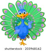 Cartoon Peacock Bird With...
