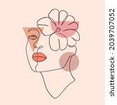minimal woman face in line art... | Shutterstock .eps vector #2039707052