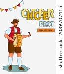 oktoberfest beer festival flyer ... | Shutterstock .eps vector #2039707415