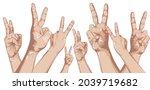 peaceful finger up concept. two ...   Shutterstock .eps vector #2039719682