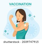 woman showing vaccinated....   Shutterstock .eps vector #2039747915
