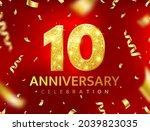 anniversary 10 year card.... | Shutterstock .eps vector #2039823035
