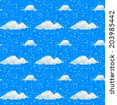 Seamless Cloud Pattern Pixel Art
