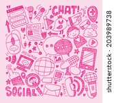 doodle communication background | Shutterstock .eps vector #203989738