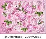 illustration with light pink... | Shutterstock .eps vector #203992888