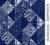 indigo dyed fabric geo shape... | Shutterstock . vector #2039940578