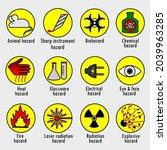 vector set of warning signs ...   Shutterstock .eps vector #2039963285