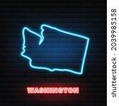 neon map of washington state...   Shutterstock .eps vector #2039985158