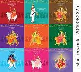 navratri 9 days 9 goddess garba ... | Shutterstock .eps vector #2040082325