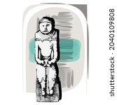ancient idol. graphic image of... | Shutterstock .eps vector #2040109808