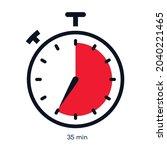 timer 35 minutes symbol color... | Shutterstock .eps vector #2040221465