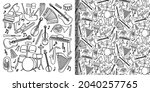 doodle music instruments set... | Shutterstock .eps vector #2040257765