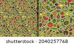doodle vegetarian seamless... | Shutterstock .eps vector #2040257768