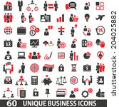 set of 60 business icons in two ... | Shutterstock .eps vector #204025882
