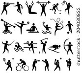 set of sports icons black color ... | Shutterstock .eps vector #204030832