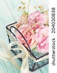 postcard with fresh flowers in... | Shutterstock . vector #204030838
