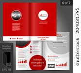 red vector brochure template... | Shutterstock .eps vector #204031792