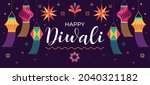 happy diwali hindu festival... | Shutterstock .eps vector #2040321182