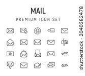 premium pack of mail line icons....