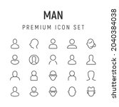 line stroke set of man icons.... | Shutterstock .eps vector #2040384038