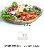 italian cuisine. prosciutto ... | Shutterstock . vector #204044332