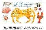 set of sea creature watercolor...   Shutterstock . vector #2040464828