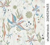 fantastic flowers seamless... | Shutterstock .eps vector #2040529655