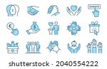 charity line icon set.... | Shutterstock .eps vector #2040554222