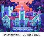 fairy tale castle in forest... | Shutterstock .eps vector #2040571028