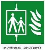 in case of fire do not use lift ...   Shutterstock .eps vector #2040618965