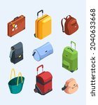 isometric luggage. 3d pictures...   Shutterstock .eps vector #2040633668