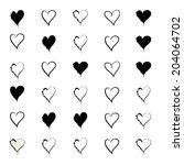 vector hearts set. hand drawn.  | Shutterstock .eps vector #204064702