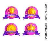 level up game bonus badge set ...