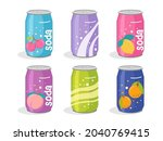 cute soda cans collection. hand ...   Shutterstock .eps vector #2040769415