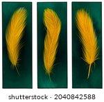 wall art set. golden feathers... | Shutterstock . vector #2040842588