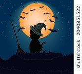 halloween black cat with witch... | Shutterstock .eps vector #2040851522
