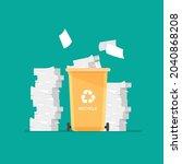 paper trash in special urn.... | Shutterstock .eps vector #2040868208